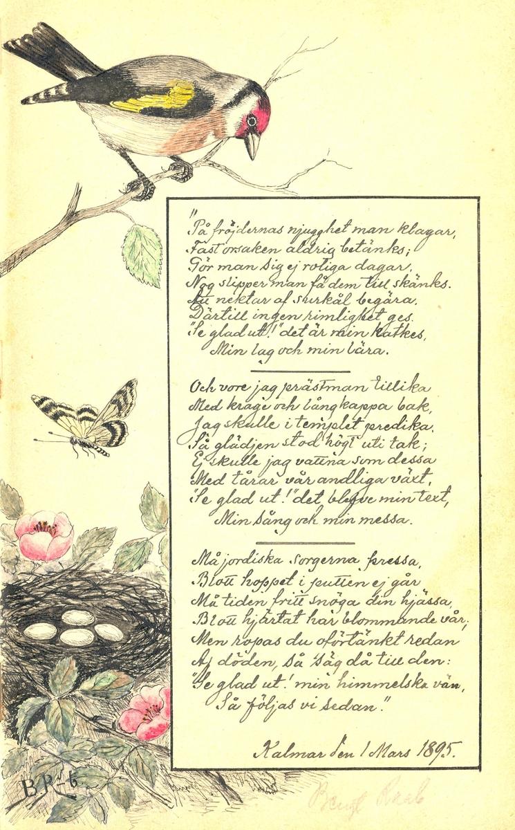 Illustrerad dikt ur Lilly Sahlbergs minnesalbum.