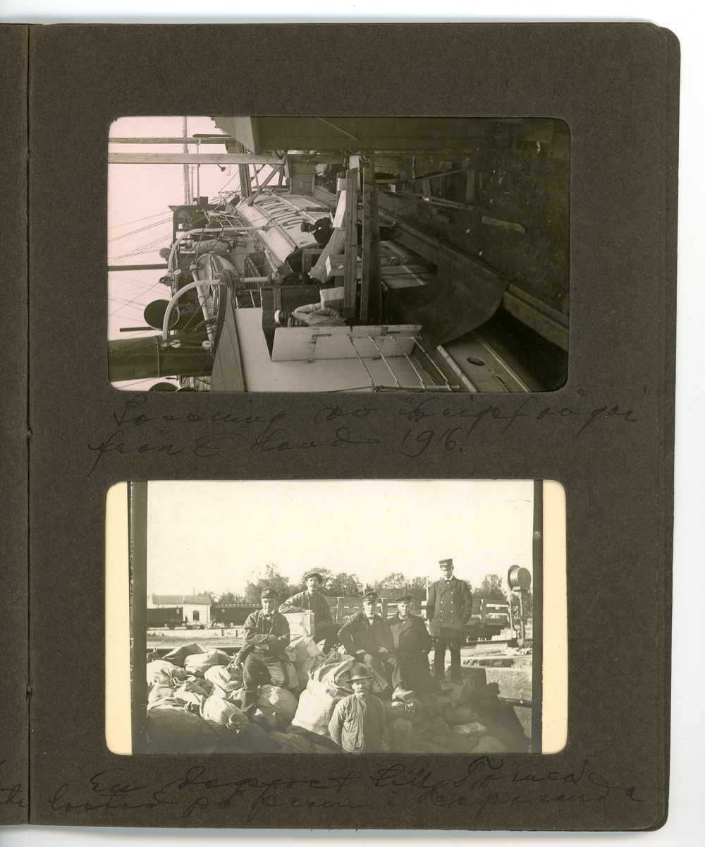 Fotoalbum med fotografier och vykort som avbildar posthantering i Karungi, Haparanda och Gävle under första världskriget.  Handskrivna kommentarer av Konrad Nikanor Jonsson, som tidigare ägare av albumet.