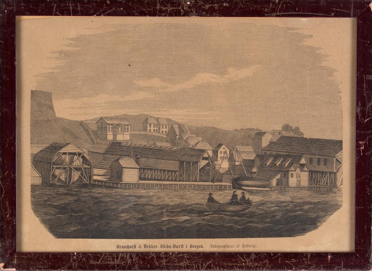 Xylografi av Brunchorst & Dekkes skipsverft i Bergen.