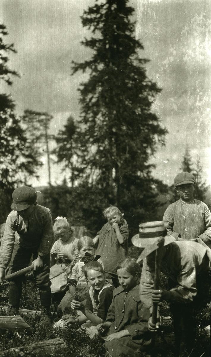Skoleunger (i Galåsen) på skogplanting.  Fremst fra høyre: nr. 3 Borghild Grønness g. Haugen (9/3 1910). Bak Gjertrud Bakken (4/7 1910 - 1992). Bakerst til venstre: Karl Johan Bakken ( 2/9 1901 - 1991)