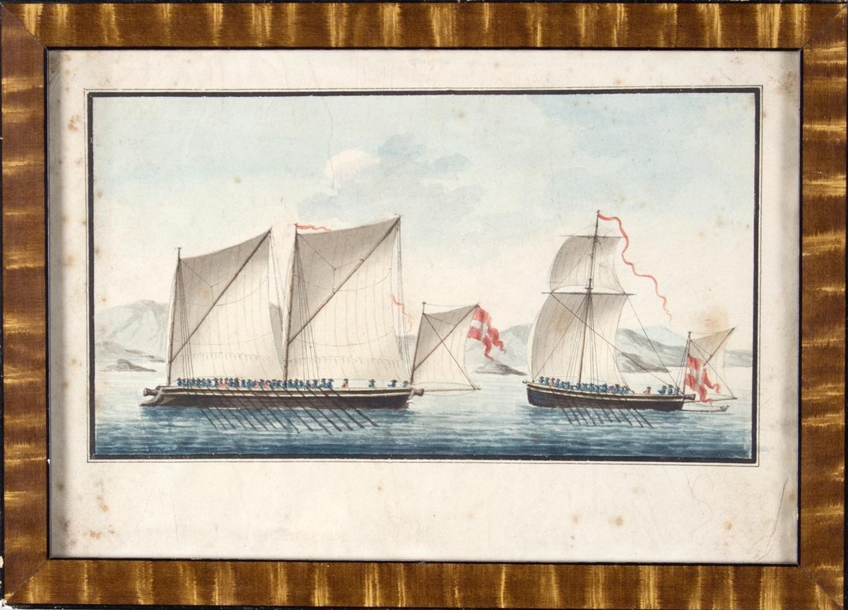 Skutebilde av en rokanonbåt og kanonsjalupp. 32 mann ombord i kanonsjaluppen og 19 mann ombord i rokanonen. Begge skipene fører dansk flagg i akter.