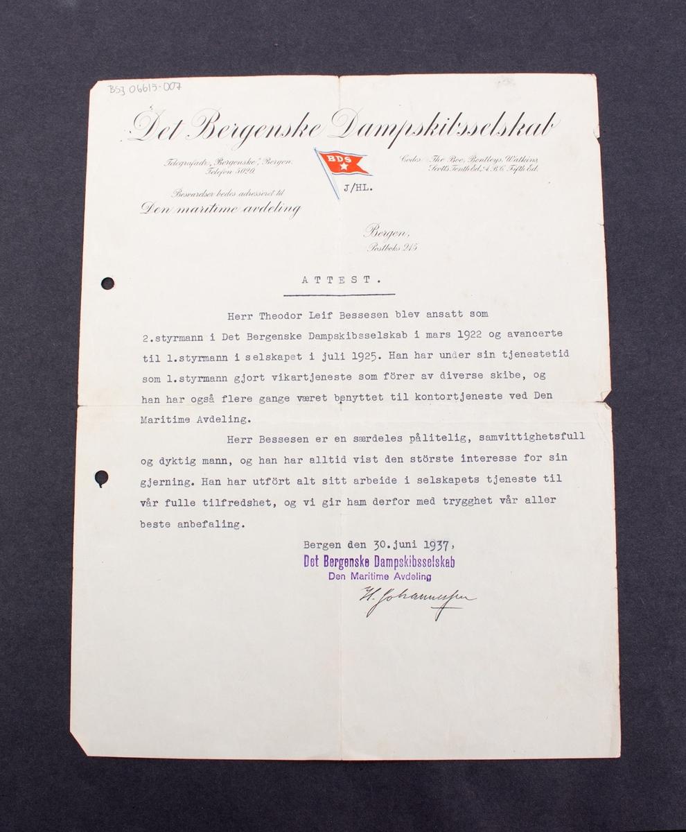 Attest gitt til Theodor Leif Bessesen fra Det Bergenske Dampskibsselskab, Den maritime avdeling, datert 30. juni 1937