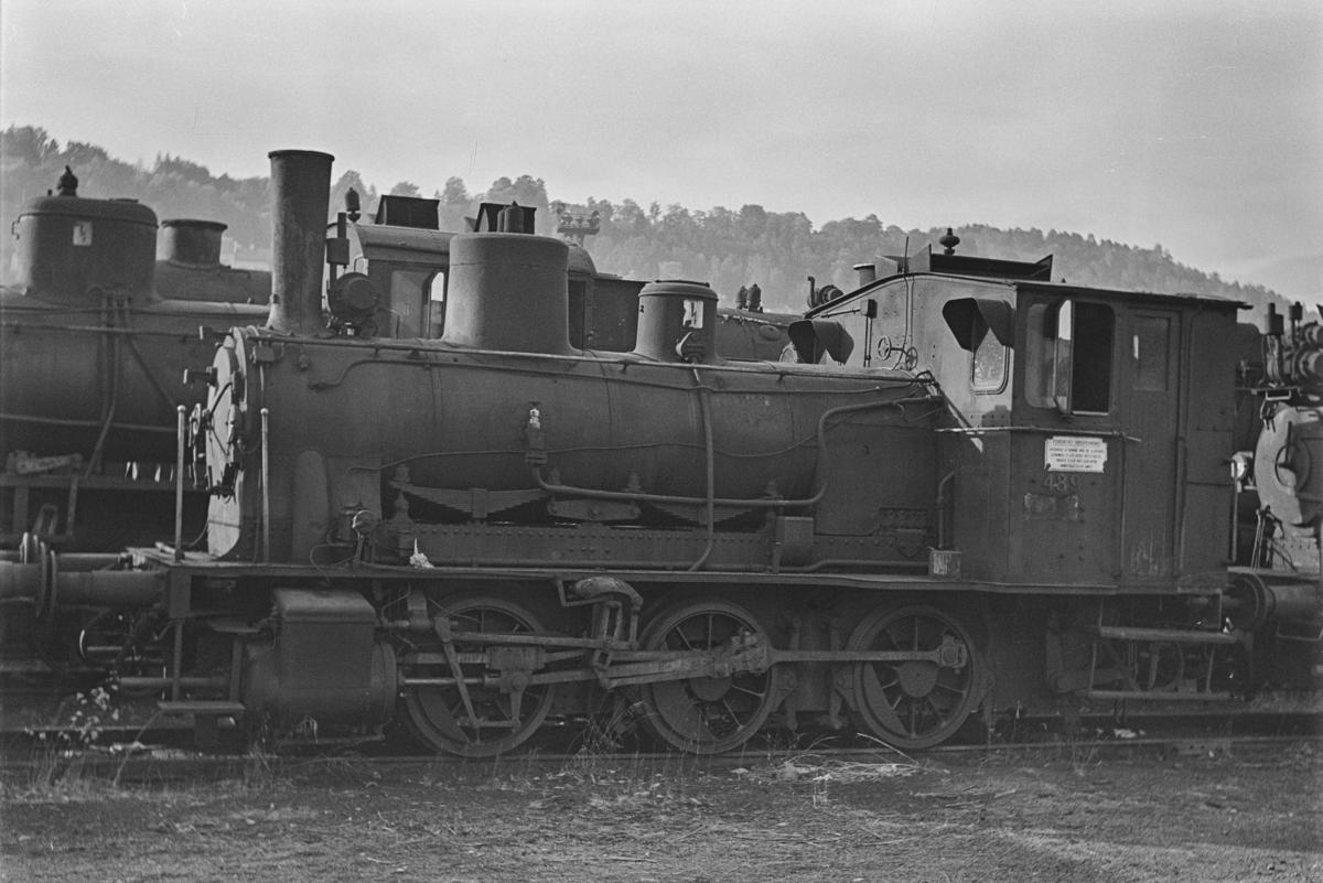 Damplokomotiv type 25e nr. 489 hensatt i Lodalen i Oslo.