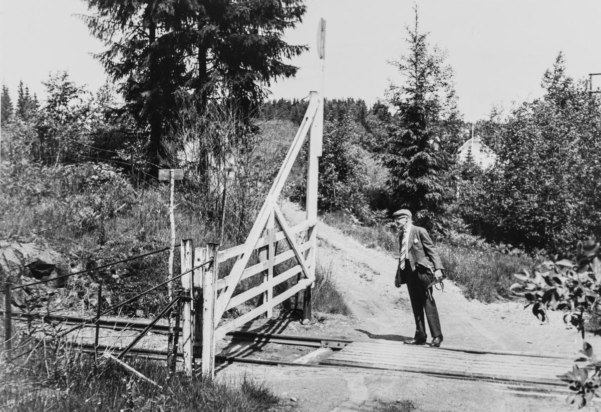 Planovergang på Vestmarkalinjen, eller Paradisbanen som den også ble kalt,siste driftsdag før nedleggelsen i juli 1965.. Grinden stengte enten banen eller veien