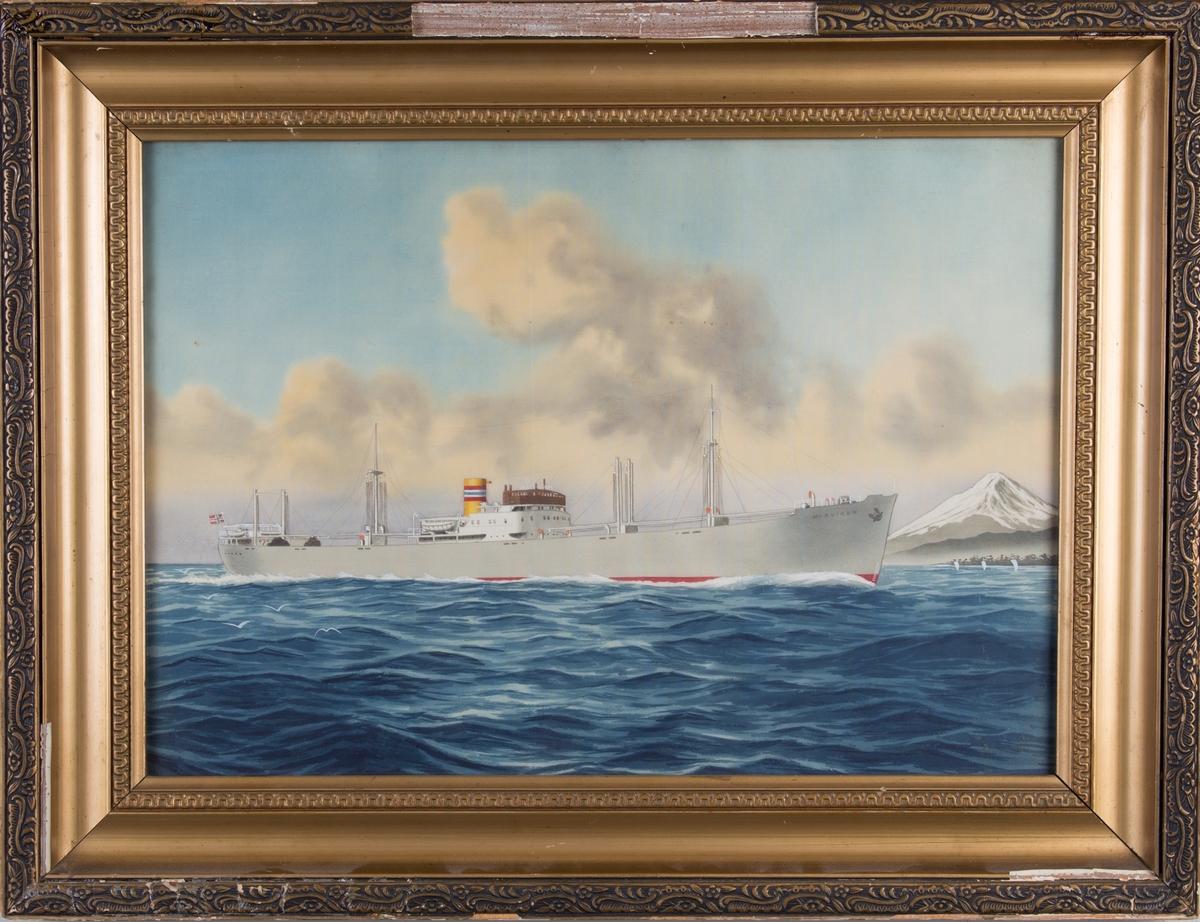 Skipsportrett av MS MORVIKEN under fart med norsk flagg i akter. Fujifjellet og Yokohama by i bakgrunn av bildet.