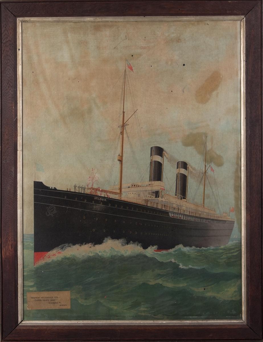 Plakat med motiv av MS ST.LOIS som gikk i rute mellom Hamburg og Amerika.