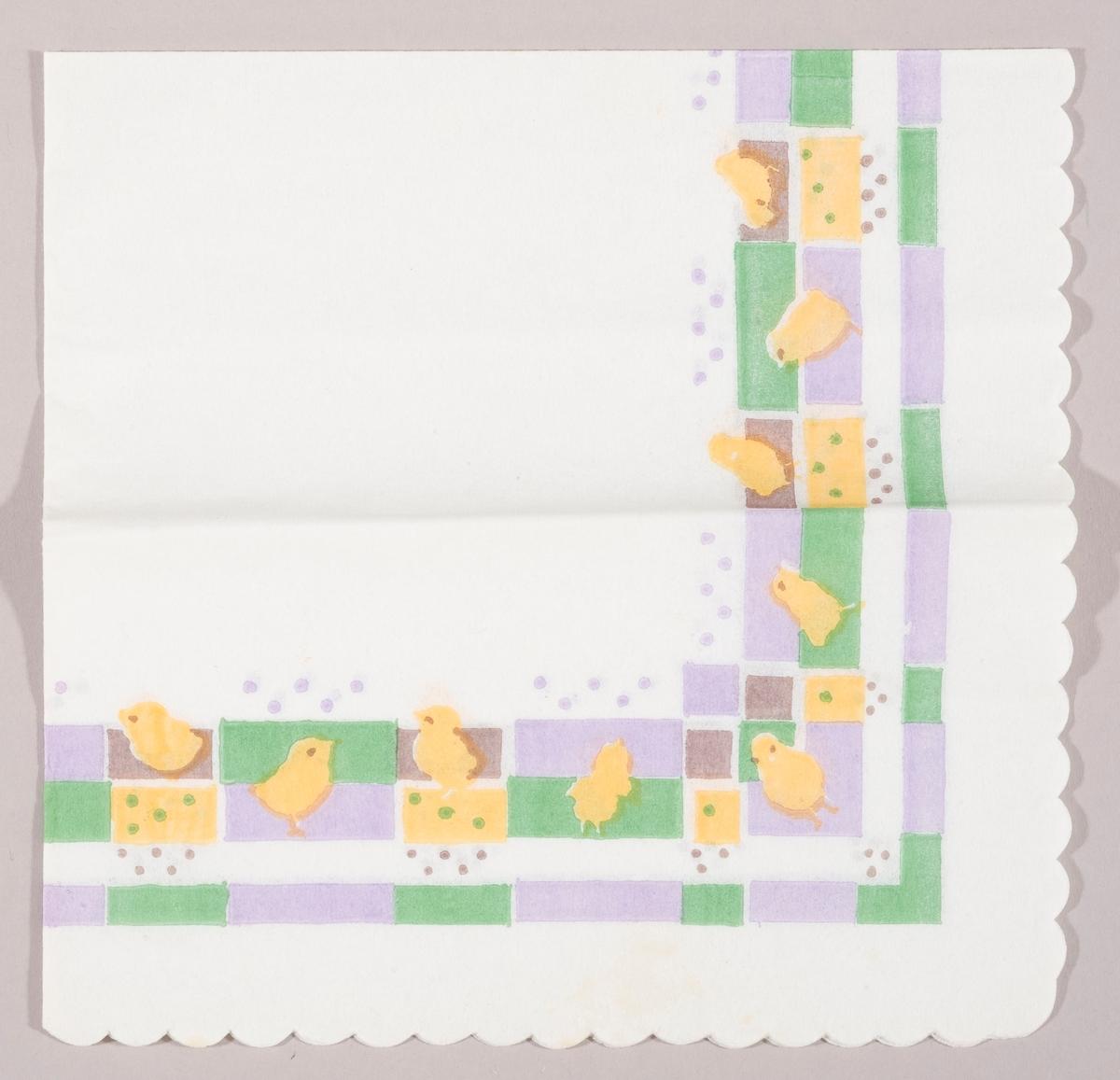Gule påskekyllinger i et mønster av lilla, grønne og gule avlange firkanter. Firkanter og prikker.
