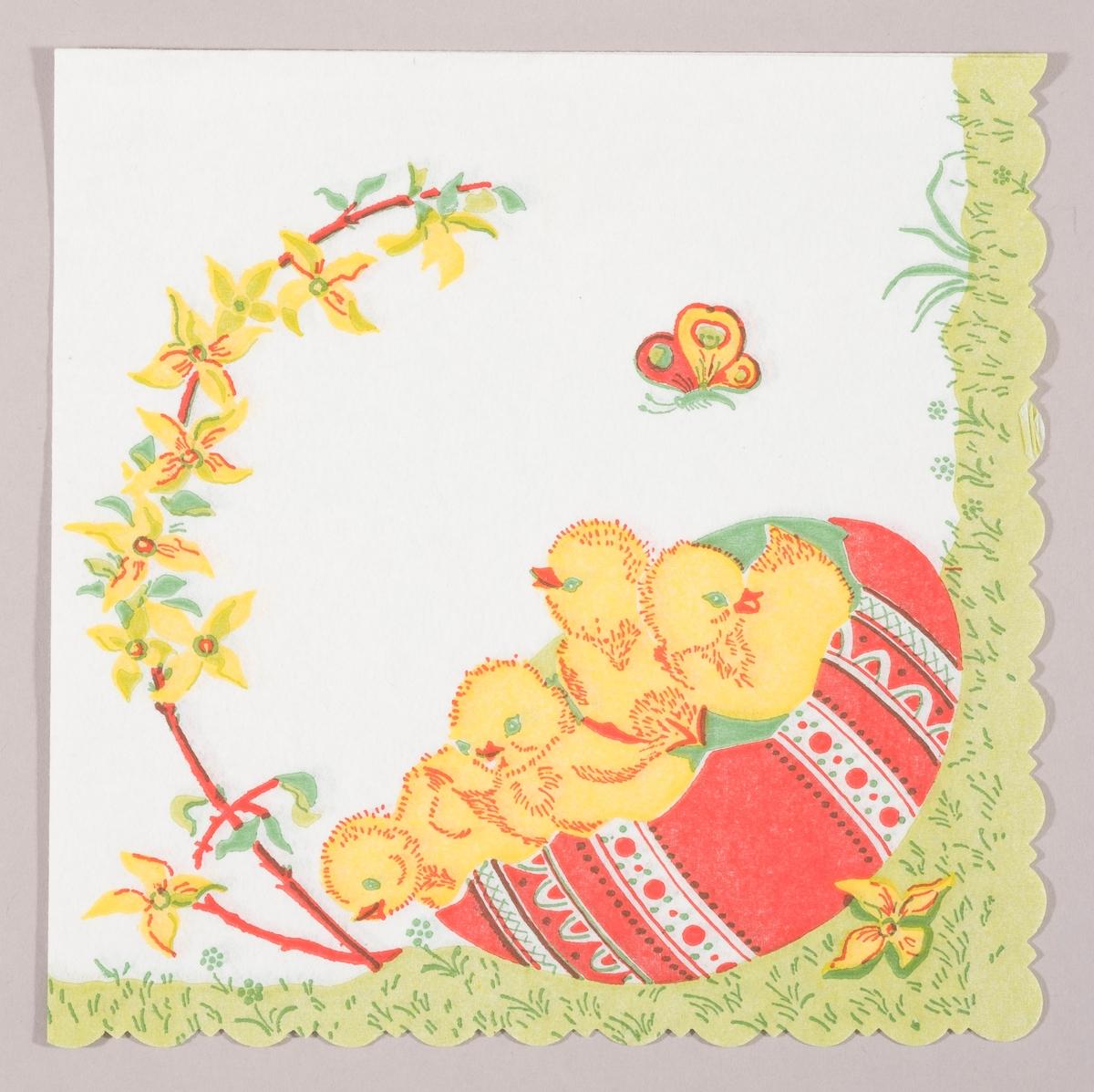 Fire kyllinger sitter i bunden av et stort påskeegg på en gressplen. En lang gren fra en forsynthia med gule blomster og en sommerfugl.
