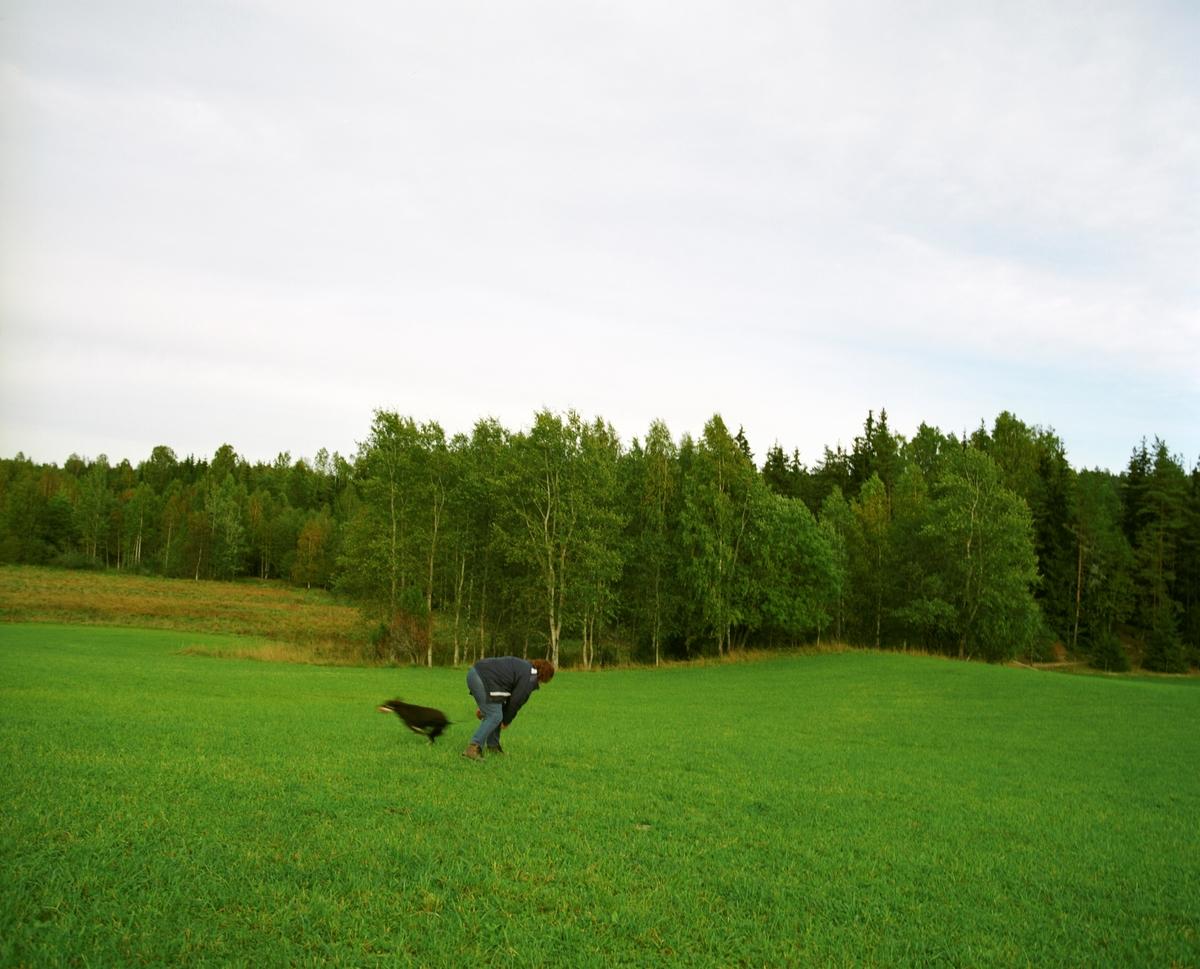 Hunden Ronja trener sammen med sin eier