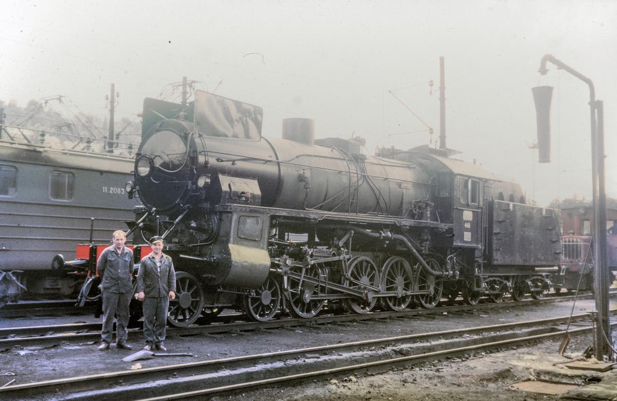 Et nyrevidert damplokomotiv type 31b nr. 448 i Lodalen i Oslo.