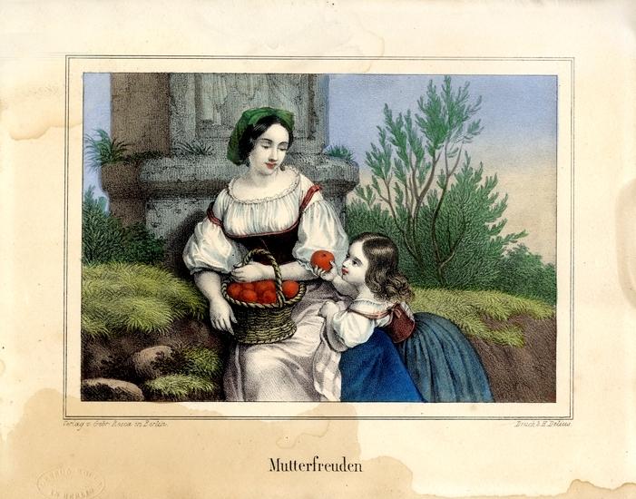 """Litografi. """"Mutterfreuden"""" (Modersglädje). Scen med mor med äppelkorg och en liten dotter som tar ett äpple."""