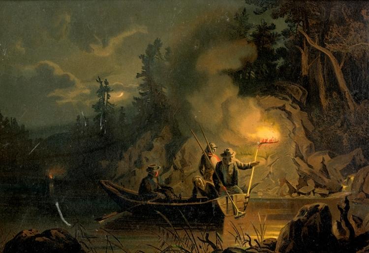 Oljetryck. Ljusterfiske med bloss.  Efter tavla av norrmannen Gude.