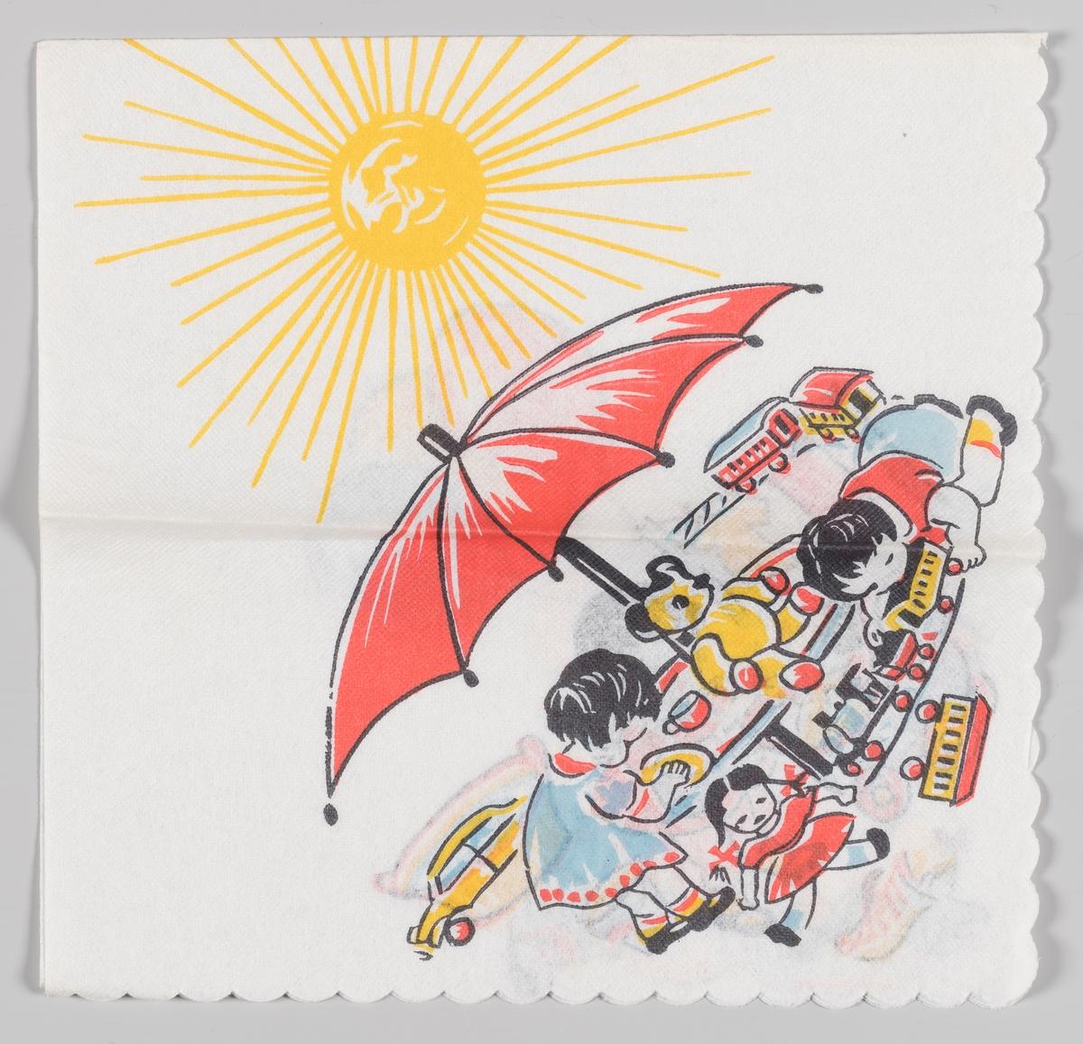 En gutt og en jente leker med masse forskjellig leketøy under en parasol med en strålende sol i bakgrunnen.