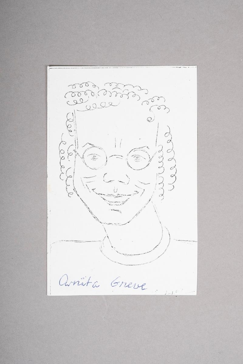 Kopi av portrett-tegning av Anita Greve. Portrettet (originalen) er tegnet med blyant eller penn, og er i svart-hvitt.