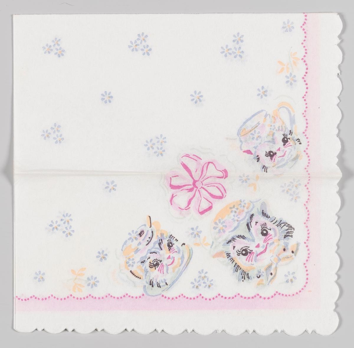 Kattehoder med hatter og en stor rosa sløyfe og små blå blomster. En rosa prikket bølgekant.