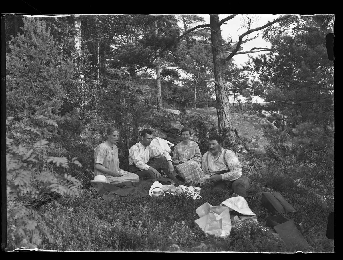 """Två kvinnor och två män har picknick mellan träden i blåbärsriset. Framför dem ligger kakor, en kaffekanna och en flaska på en filt. Vid sidan av dem står en picknickkorg med en duk över samt två unika-boxar. I fotografens egna anteckningar står det """"Fam. Wincrantz, mamma och undert[ecknad] (Risö)"""""""