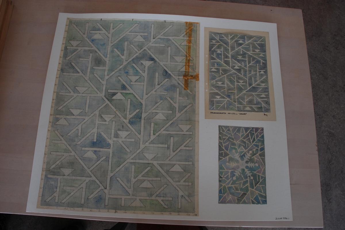 Skisser till rölakansmattor komponerade av Ann Mari Gunnarsson.