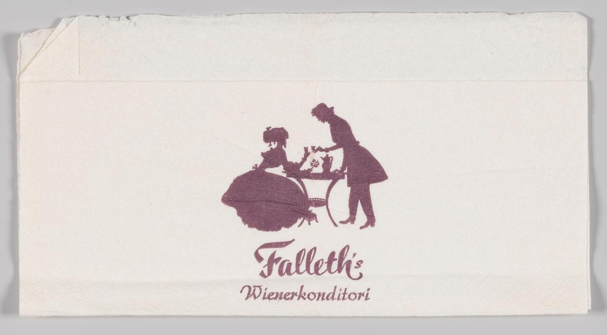 Silhuettene av en kvinne og en mann kledt i klær fra 1800-tallet drikker kaffe ved et kafebord og reklametekst for Falleth`s Wienerkonditori i Fredrikstad. Falleths Wienerkonditori A/S. Grunnleggeren av denne tradisjonsrike håndverksbedrift, August Falleth, (1861-1930), hadde drevet bakeri og konditori i Sandefjord i 20 år da han i 1907 flyttet til Fredrikstad. Hans sønner gikk inn i virksomheten som i mange år drev under navn av August Falleth & Sønner. Driften ble i 1971 omlagt til konditori med utsalg, restaurant og selskapsavdeling. Nytt firma-navn ble tatt i bruk samtidig. Bedriften fortsatte som familieforetak til 1995 da 4. generasjon solgte bedriften.