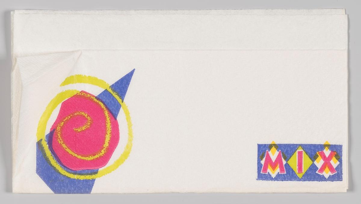 En abstrakt figur og en rektangel md en reklametekst for MIX.  MIX er et norsk kjedekonsept innen servicehandel som eies og markedsføres av NorgesGruppen. MIX-kjeden ble etablert i 1991 som et innkjøpssamarbeid for frittstående enheter innen servicehandelen. Kjeden består av ca. 420 profilerte og 200 uprofilerte utsalgssteder (2010).  Samme reklametekst på MIA.00007-004-0159; MIA.00007-004-0160; MIA.00007-004-0162.