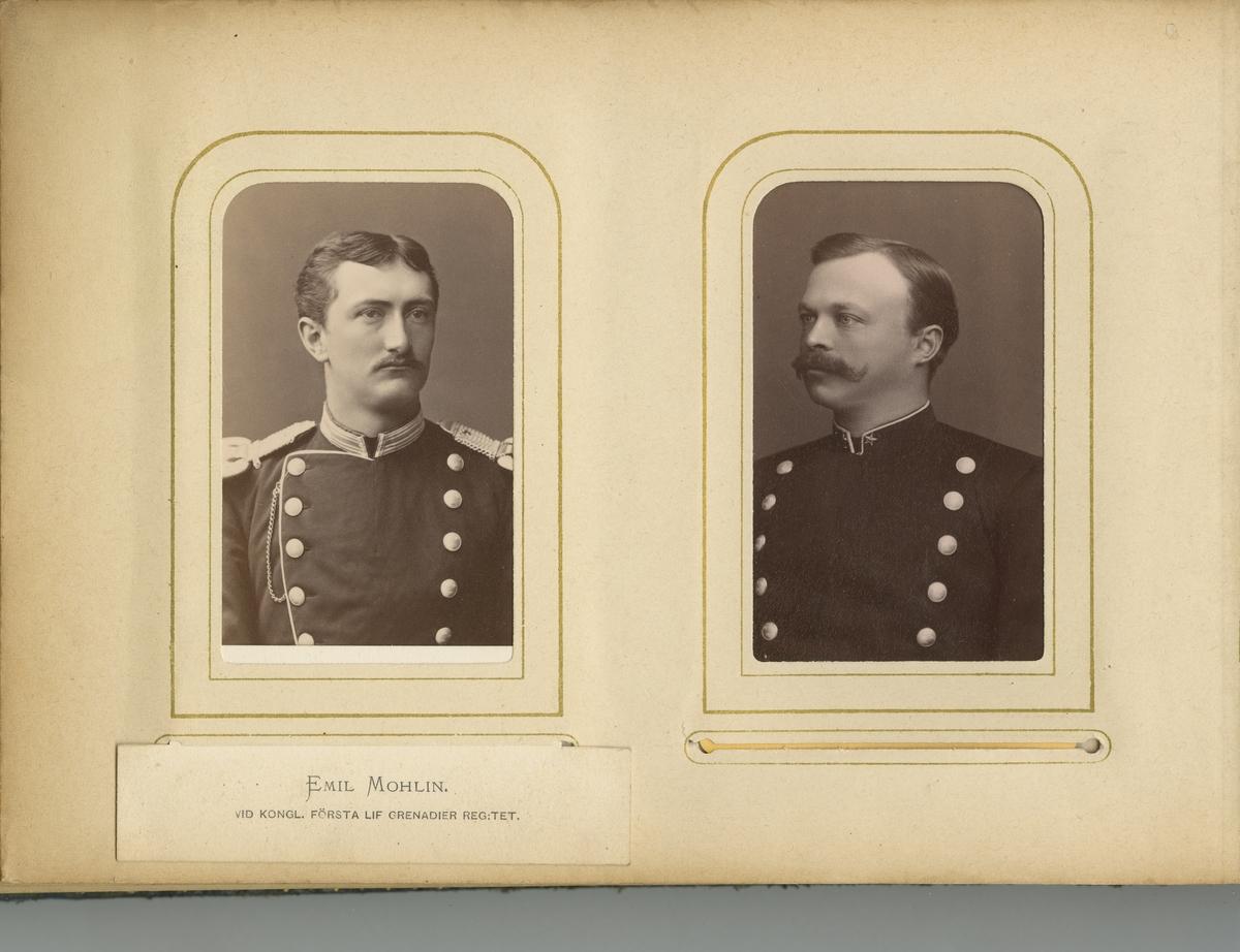 Porträtt av Per Adolf Emil Mohlin, officer vid Första livgrenadjärregementet I 4.  Se även bild AMA.0005550 och AMA.0021770.