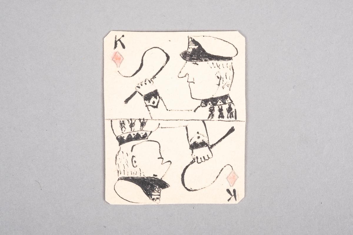 Tegning av en fangevokter som holder på en pisk. Motivet er speilet.