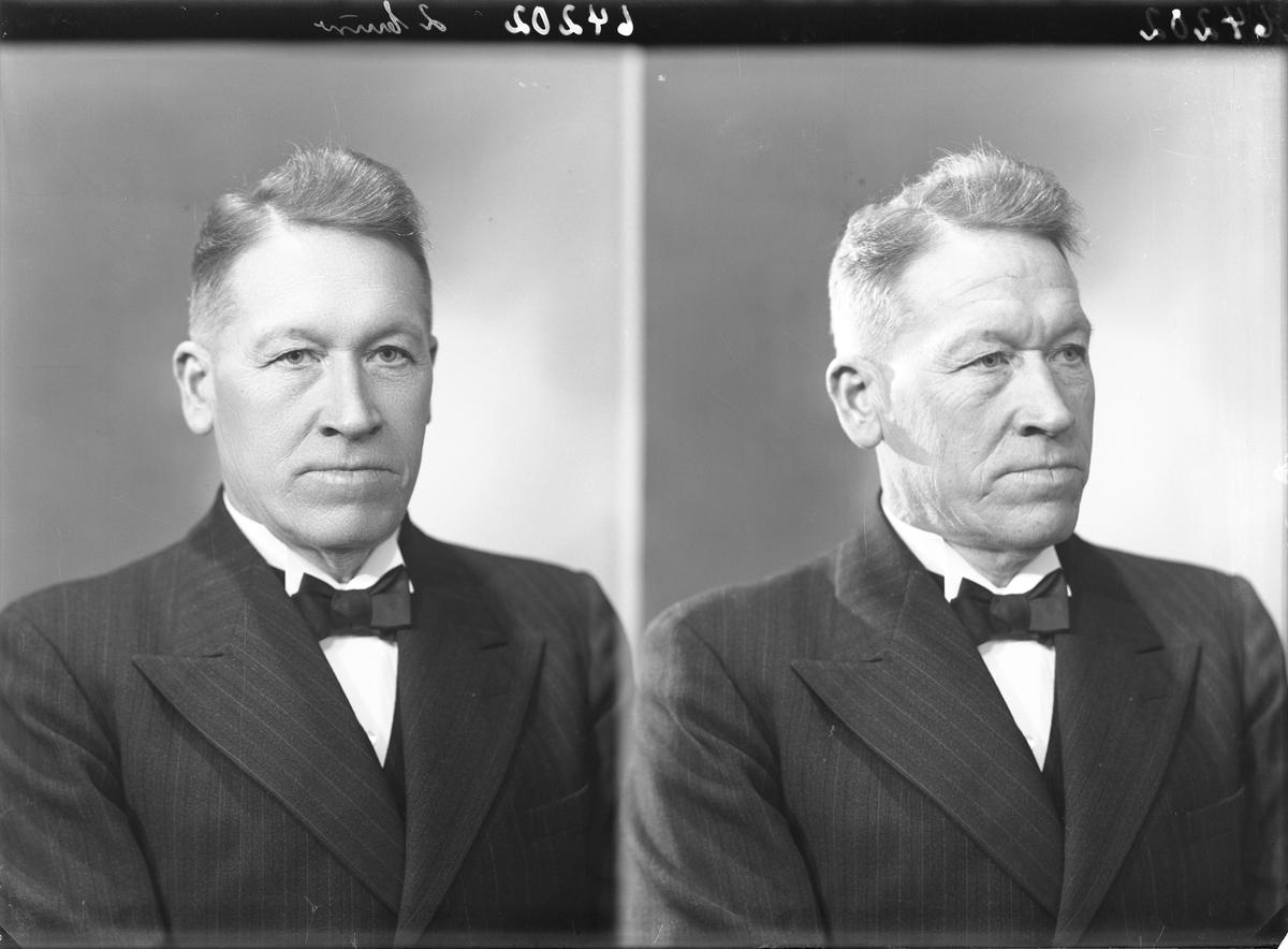 Portrett. Voksen mann i mørk dress, hvit skjorte og mørk sløyfe.. Bestilt av Hr. Karl Gilje