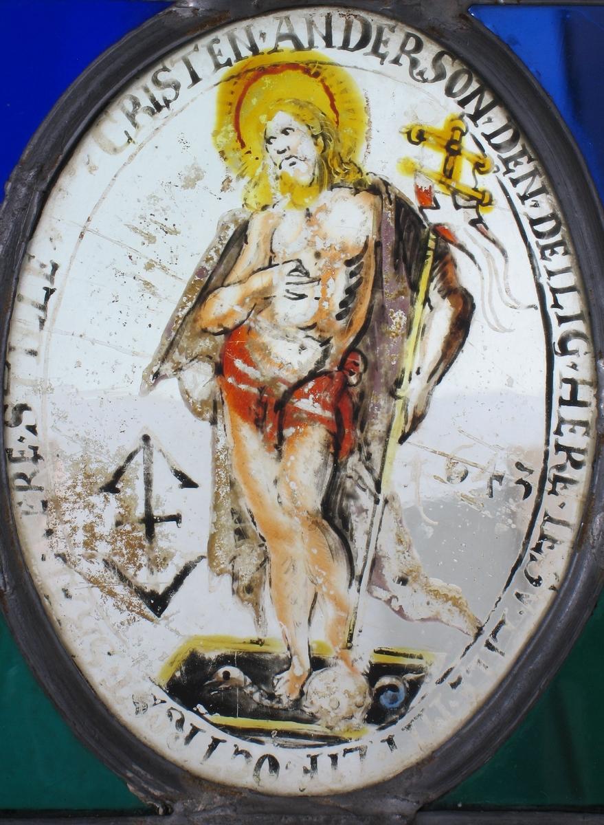 Den oppstandne Kristus med seierefanen, tv. ved  knærne bumerke: th.: 1643.