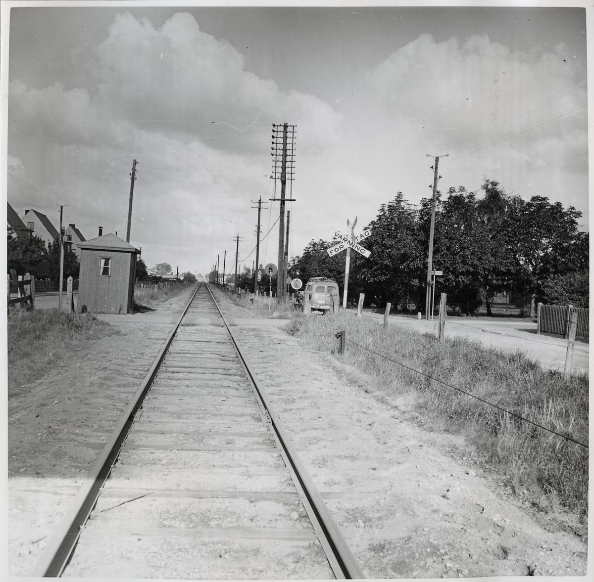 Järnvägsövergång vid Böckaregatan på linjen Fjärdingslöv - Trelleborg.