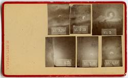 Solförmörkelse. Sex olika faser mellan klockan 5 till 5.55,
