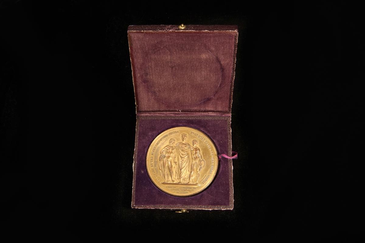 En medalj i guldpläterad brons, utdelad på Den nordiske Industri og kunstudstilling i Kjobenhavn 1872. Åtsidan är präglad med ett motiv med tre män, och frånsidan en byggnad med flaggor. Medaljen förvaras i en ask av papp klädd i tunnt oxblodsfärgat skinn/skinnpräglat papper. Askens insida är klätt i mörkt lila sammet, med ett band under medaljen för att kunna lyfta den.