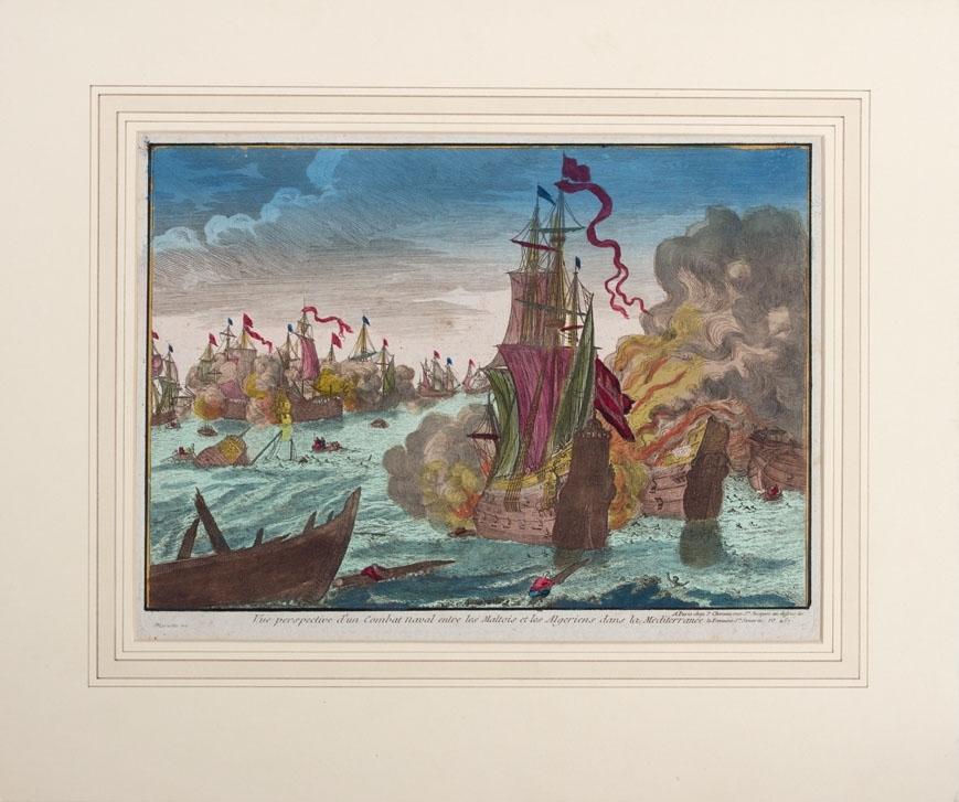 Sjøslag mellom malteriske og algeriske skip i Middelhavet ca. 1750. Kobberstikket viser større og mindre skip i kamp. Et av skipene står i full brann og mannskapet ligger i sjøen og klynger seg til vrakrester.