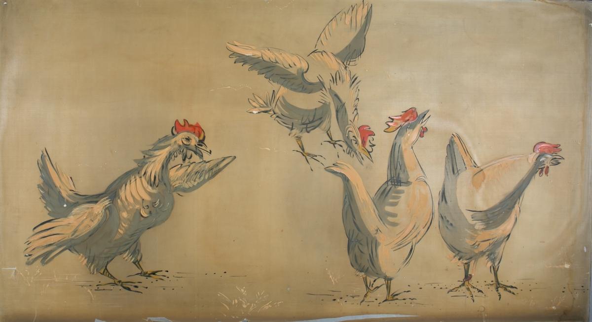 """Silkemaleri med motiv av """"Fire høner"""". Har vært dekor på hurtigruteskipet LEDA tilhørende BDS."""