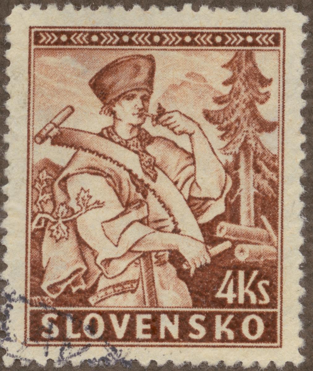 Frimärke ur Gösta Bodmans filatelistiska motivsamling, påbörjad 1950. Frimärke från Slovakien, 1939. Motiv av skogsarbetare.