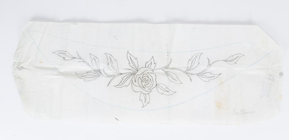 Broderimaler i en konvolutt, håndtegnet på papir. Konvolutten fra Høyesterettsadvokat O.J.Bjørnstad Rådhusgt.9 - OSLO