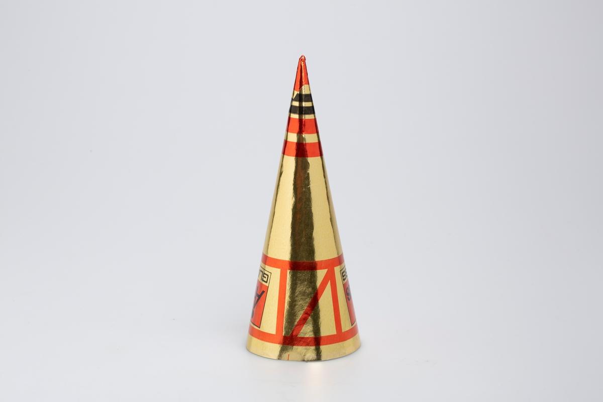 Kjegleformet iskrempapir (kremmerhus). Kremmerhuset er blankt med farger på utsiden, og matt uten farge (hvit) på innsiden. Kremmerhuset har gullfarget bakgrunn. Øverste del har linjete rødt mønster. Nederste del har rød og svarte striper.