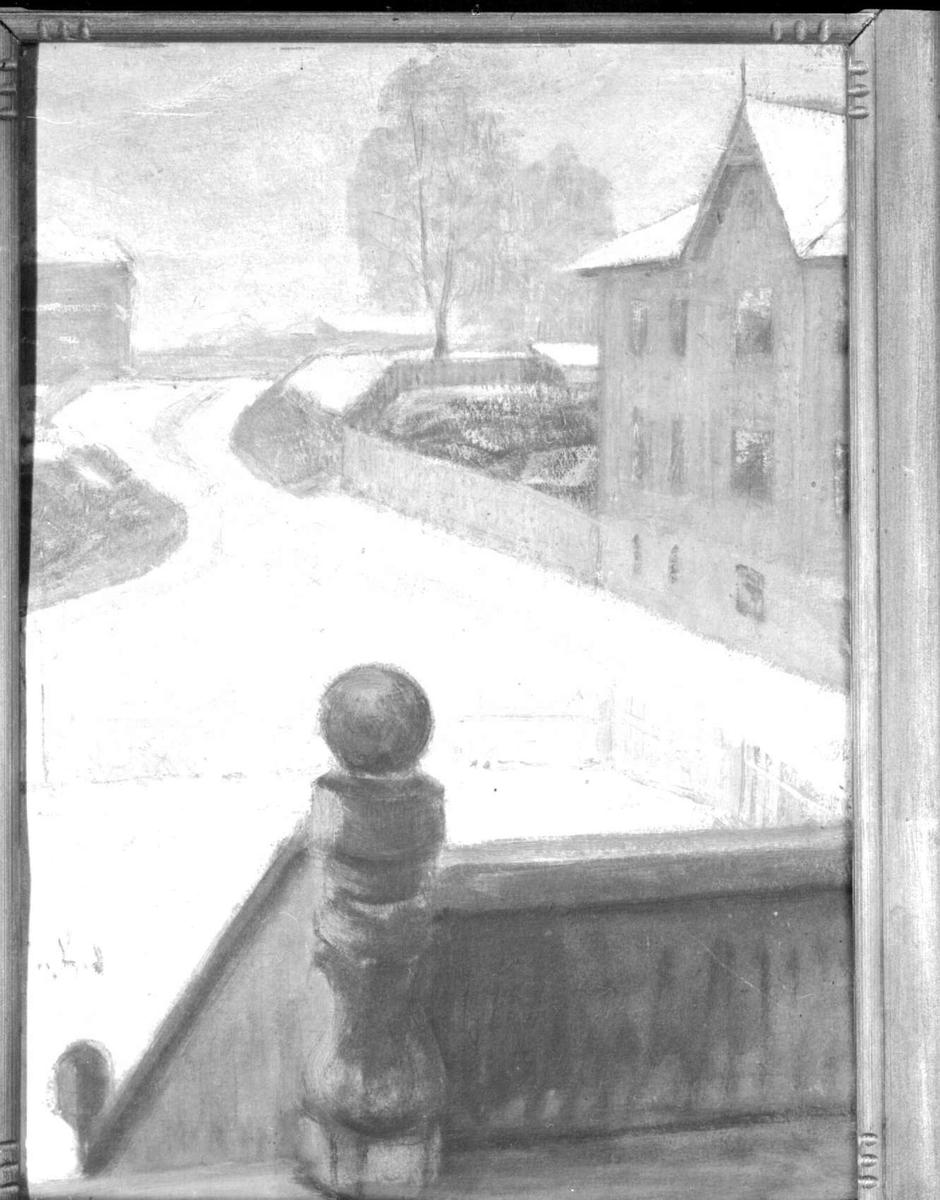 Repro: Maleri av bymotiv, Lillehammer.