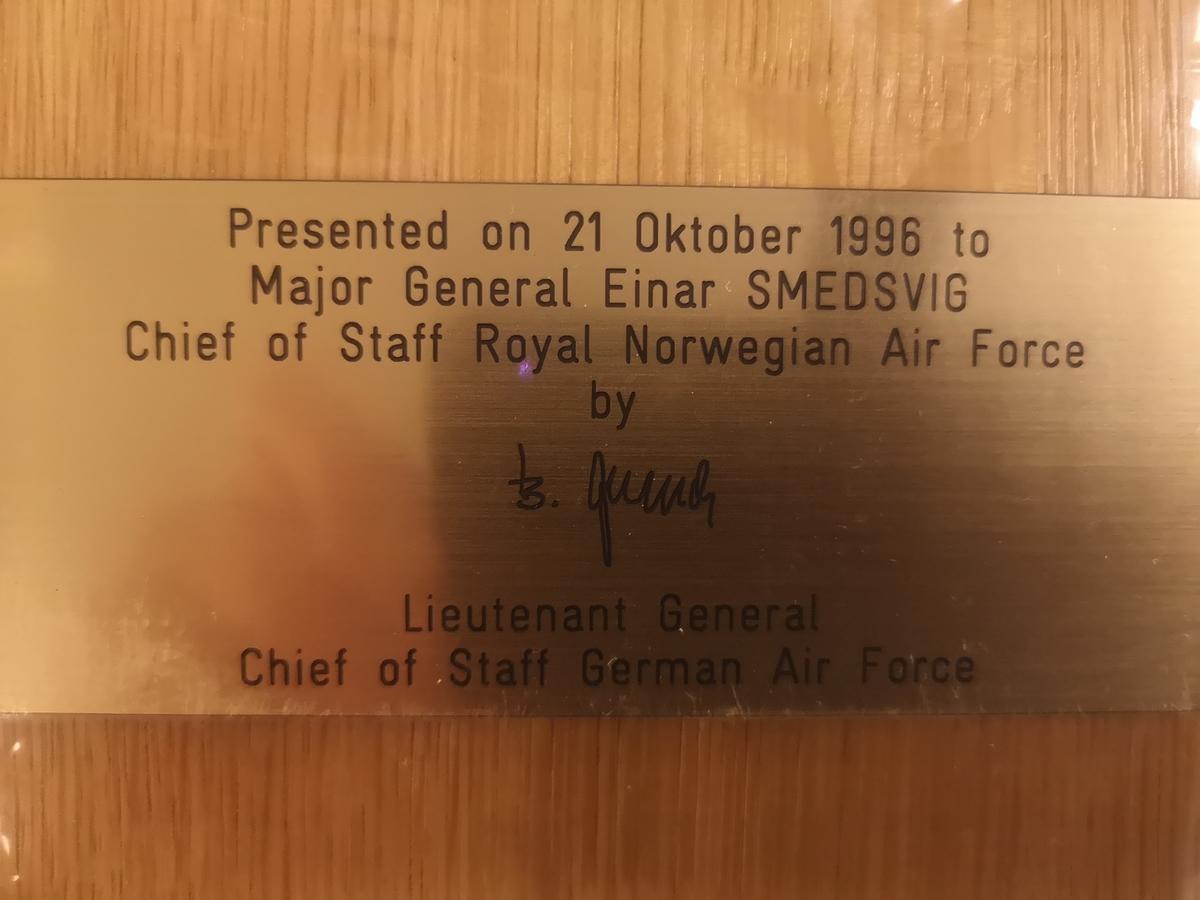 Deutsche Luftwaffe To: Maj Gen Einar Smedsvig - Chief of Staff R.No. A. F. By: Lt Gen of Staff German Air Force