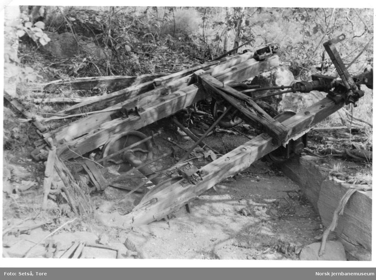 Restene av en vogn fra Sulitjelmabanen