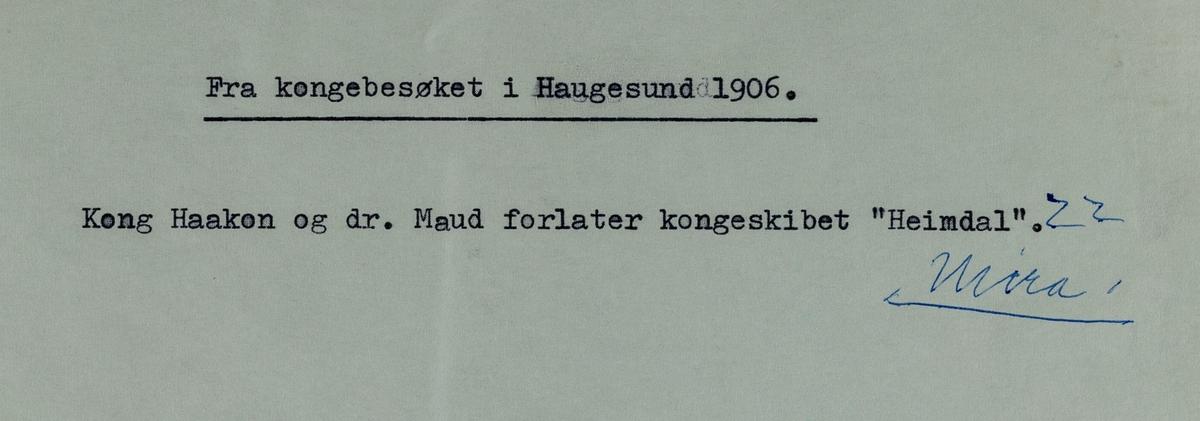 Fra kongebesøket i  Haugesund, 1906.