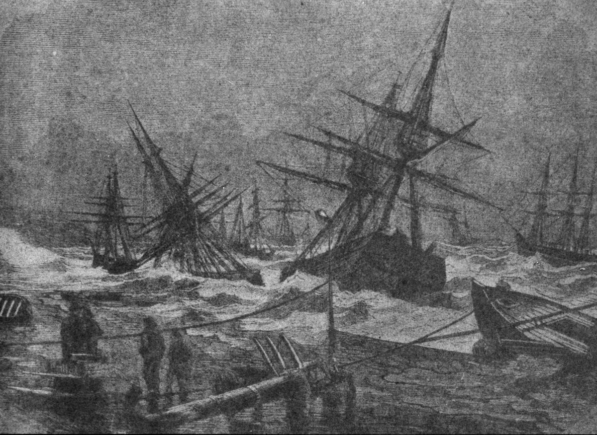 Avfotografert trykk som viser flere forliste seilskuter i opprørt hav.