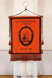 Fane til Leikarringen i Moss stiftet 1964. For- og bakside.