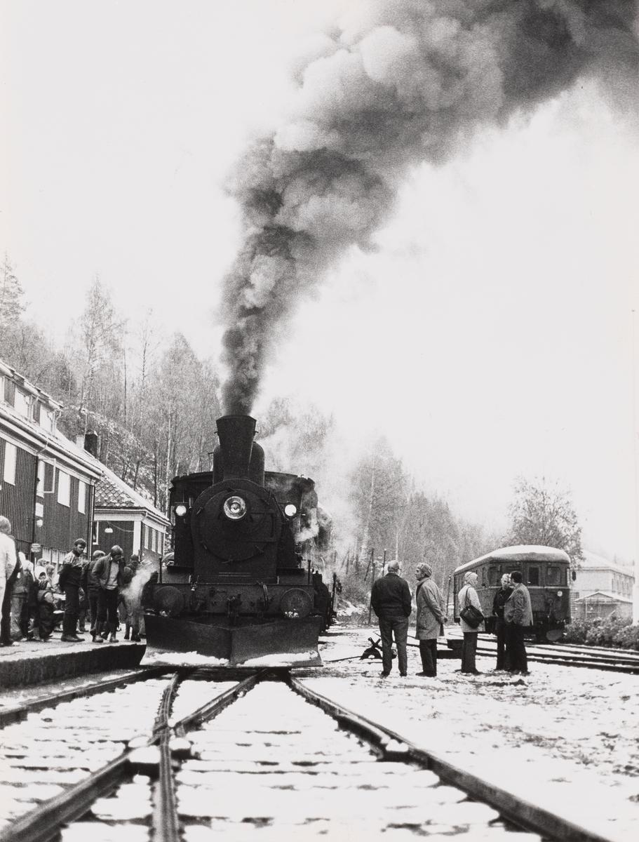 Damplokomotiv type 21b nr. 252 med veterantog til Drammen på Rødberg stasjon