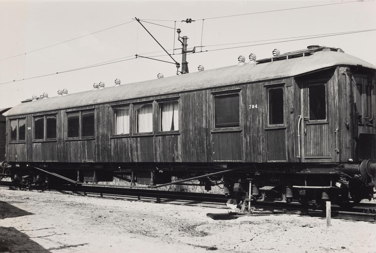 NSBs losjivogn nr. 704. Opprinnelig sovevogn ACo1a, senere salongvogn Ao type 4.