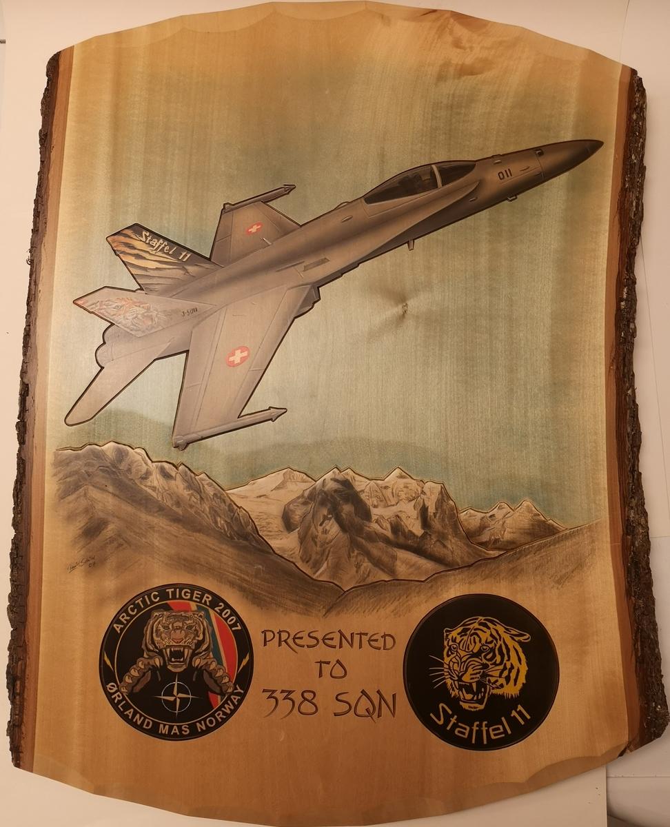 """Treplakett (63,5 x 50 cm), med påmalt motiv; F-16. I tillegg to emblem inngravert """"Arctic Tiger 2007"""" og """"Staffel 11"""". Inngravert text i plate, Presented to 338 sqn."""