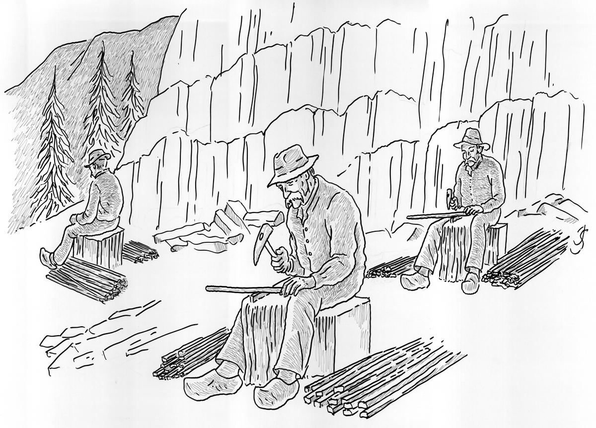 Steinpikkeran i brynesteinsberget.