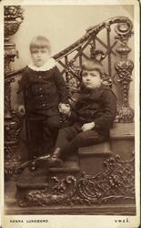 Foto av två små pojkar i mörka dräkter. Den ena pojken har e
