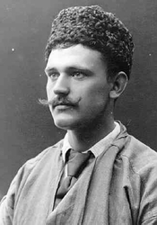 Porträtt, bröstbild, av Axel Edvard Bolling med mustasch sam