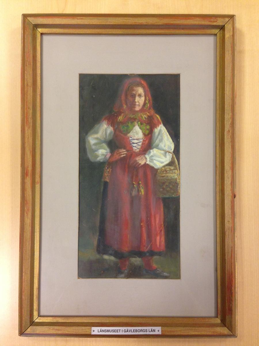 Målning, olja, Gagnefkulla. Signerad: R. L.
