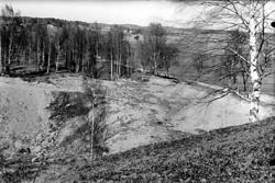 Grustaget på gravhögens norra sida, Ströbohög i Köping.