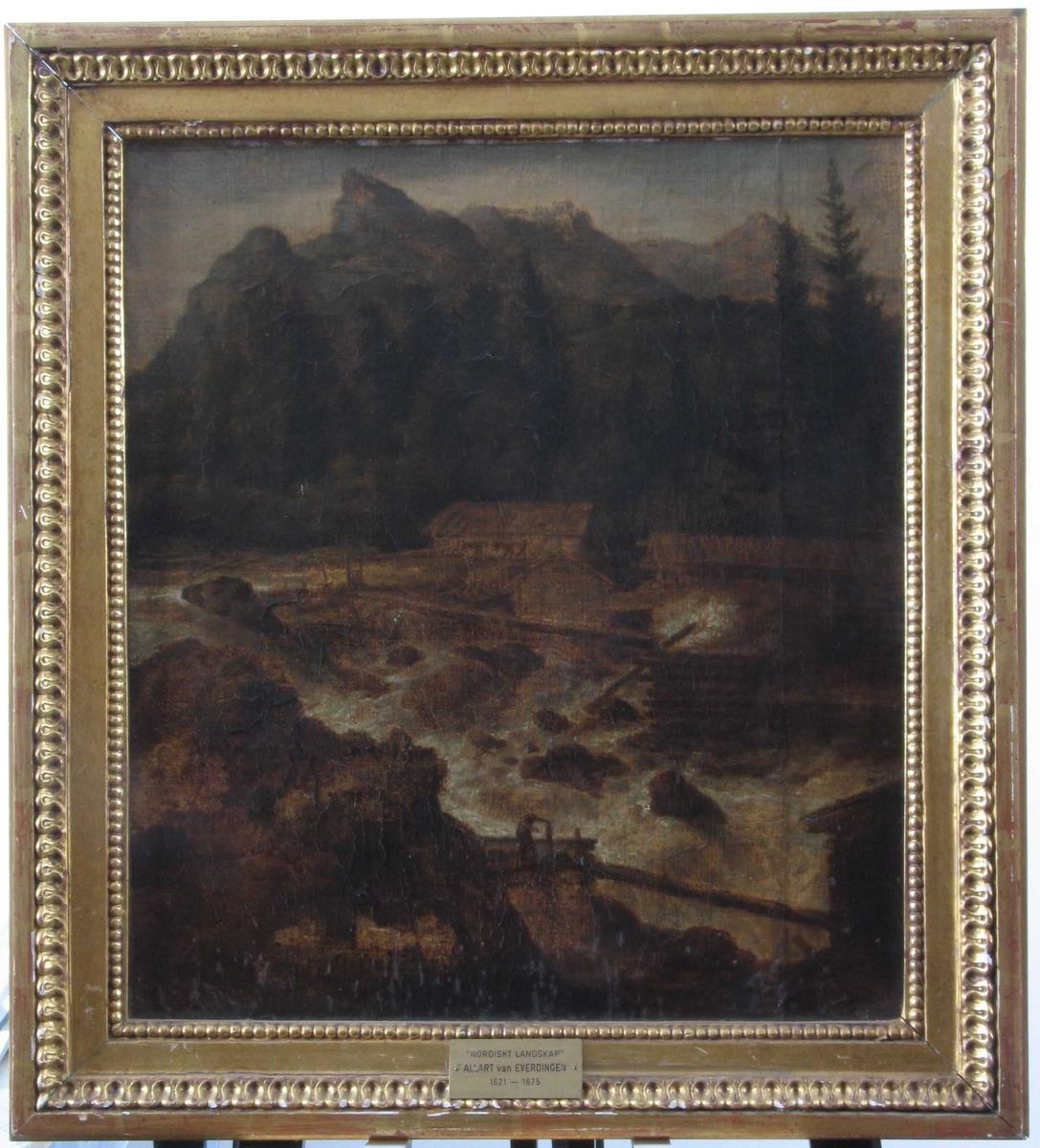 Norsk landskap med foss. Bergfullt skoglandskap med steinet fossestryk i forgrunnen, i fossen kvernhus og sagbruk, personer i arbeid og dyr.